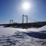 """Мост через Сосьву, который несколько лет назад связал Гари с большой землей. Фото: Алексей Пасынков, газета """"Глобус""""."""